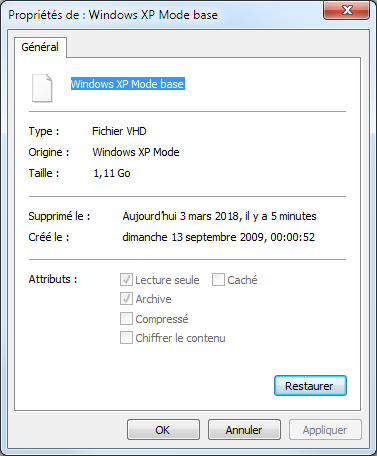Windows XP Mode base.vhd shown as deleted